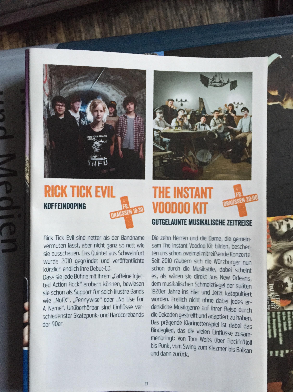 Rick  Tick Evil und The Instant Voodoo Kit auf dem Umsonst und Draussen Würzburg!